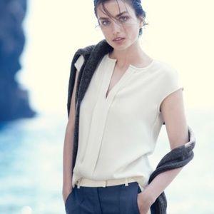 J crew ivory draped cap sleeve career blouse sz 8